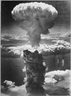 208-N-43888<br /> War and Conflict #1242<br /> A dense column of smoke rises more than 60,000 feet into the air over the Japanese port of Nagasaki, the result of an atomic bomb, the second ever used in warfare, dropped on the industrial center August 8, 1945, from a U.S. B-29 Superfortress.