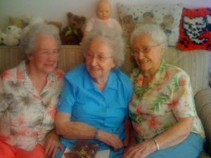 Bernice Weber, center, with sisters